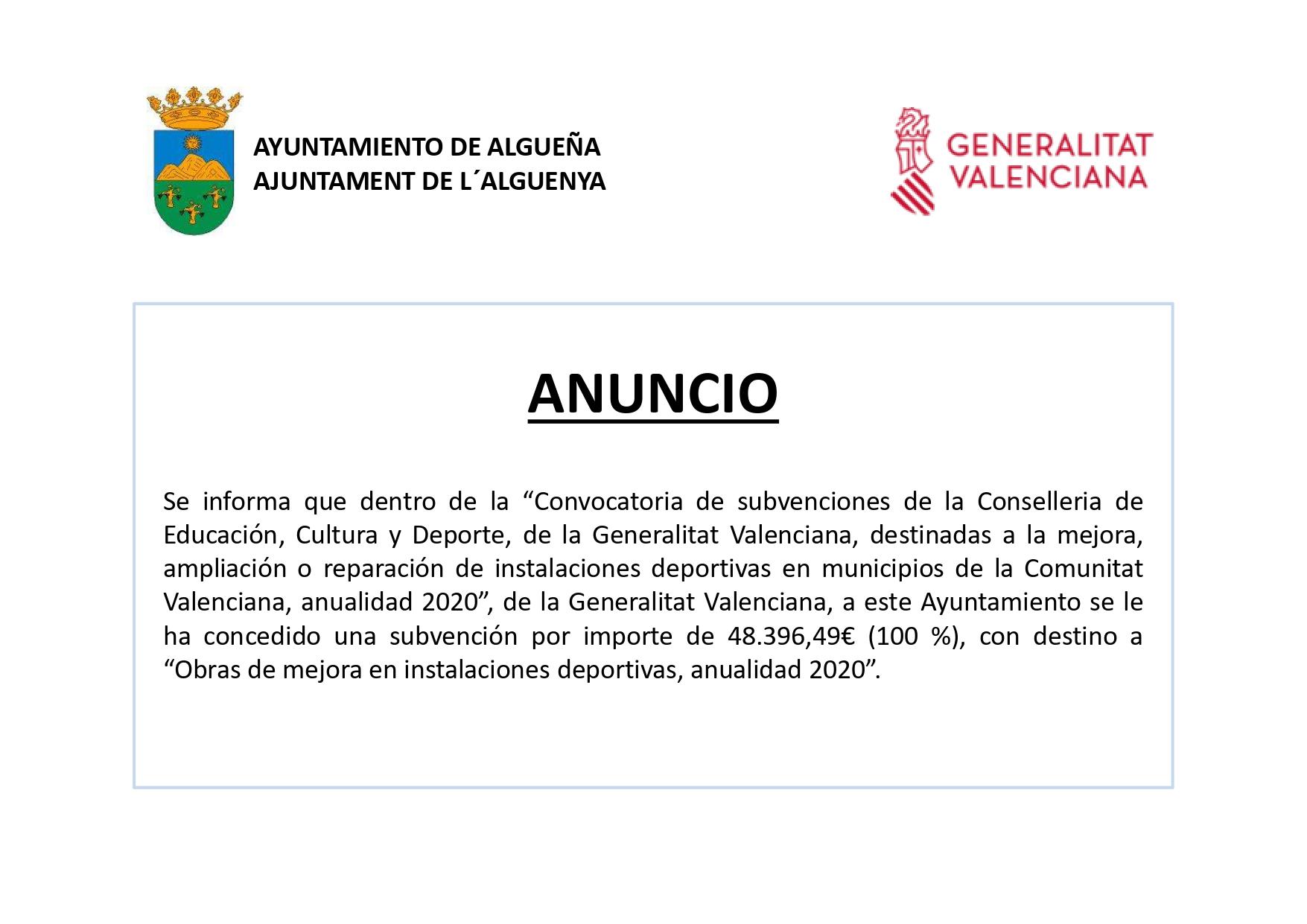 """ANUNCIO - """"Obras de mejora en instalaciones deportivas, anualidad 2020"""""""