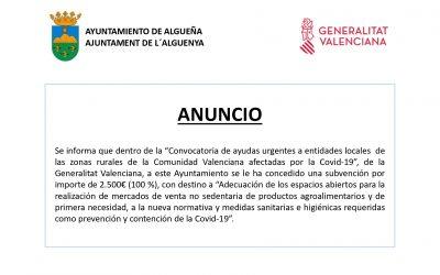 ANUNCIO – Subvención «Ayudas urgentes a entidades locales de las zonas rurales de la Comunidad Valenciana afectadas por la #Covid-19»