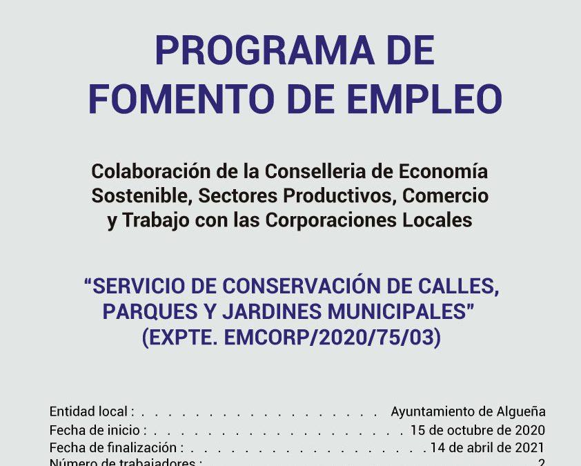 """PROGRAMA DE FOMENTO DE EMPLEO - EMCORP """"Servicio de conservación de calles, parques y jardines municipales"""""""