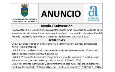 ANUNCIO – «Convocatoria de Subvenciones a Ayuntamientos de la Provincia de Alicante para la realización de actuaciones comprendidas dentro del ámbito de actuación del Área de Desarrollo económico y sectores Productivos, anualidad 2020»