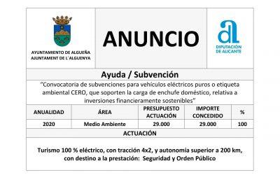 ANUNCIO – «Convocatoria de Subvenciones para vehículos eléctricos puros o etiqueta ambiental CERO, que sorporten la carga de enchufe doméstico, relativa a inversiones financieramente sostenibles»