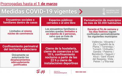 SE PRORROGAN LAS MEDIDAS COVID-19 EN LA COMUNIDAD VALENCIANA HASTA EL 1 DE MARZO