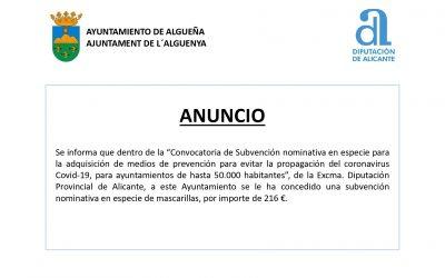 ANUNCIO Convocatoria de Subvención nominativa en especie para la adquisición de medios de prevención para evitar la propagación del COVID-19, para ayuntamientos de hasta 50.000 habitantes