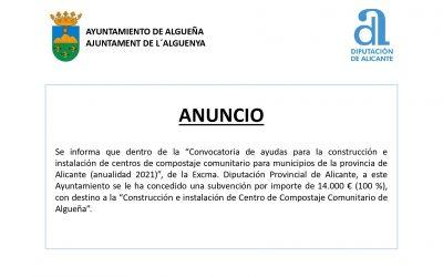 ANUNCIO Subvención «Construcción e instalación de Centro de Compostaje Comunitario de Algueña»