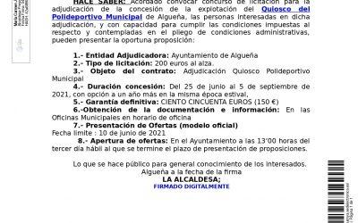 EDICTO: Convocatoria concurso de licitación para la adjudicación de la concesión de explotación del Quiosco del Polideportivo Municipal