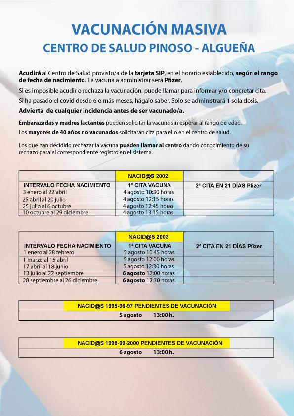 VACUNACIÓN MASIVA COVID-19 NACIDOS/AS ENTRE 1999 Y 2003, Y PENDIENTES DE VACUNACIÓN NACIDOS/AS ENTRE 1995 Y 2000