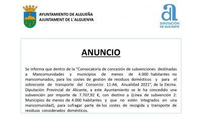ANUNCIO – Subvención «Sufragar parte de los costes de recogida y transporte de residuos considerados domésticos»