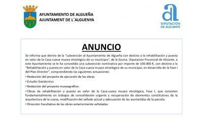 ANUNCIO – Subvención «Rehabilitación y puesta en valor de la Casa-cueva museo etnológico de Algueña, en desarrollo de la Fase I del Plan Director»