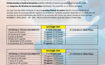 VACUNACIÓN MASIVA COVID19 NACIDOS/AS ENTRE 2004 Y 2009, Y RECAPTACIÓN ENTRE 1969 Y 2003