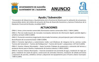 ANUNCIO – Subvención del Àrea de Desarrollo Económico y Sectores Productivos