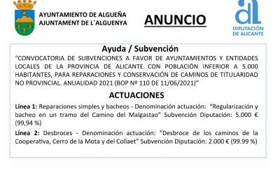 ANUNCIO – Subvención para reparación y conservación de caminos – Anualidad 2021