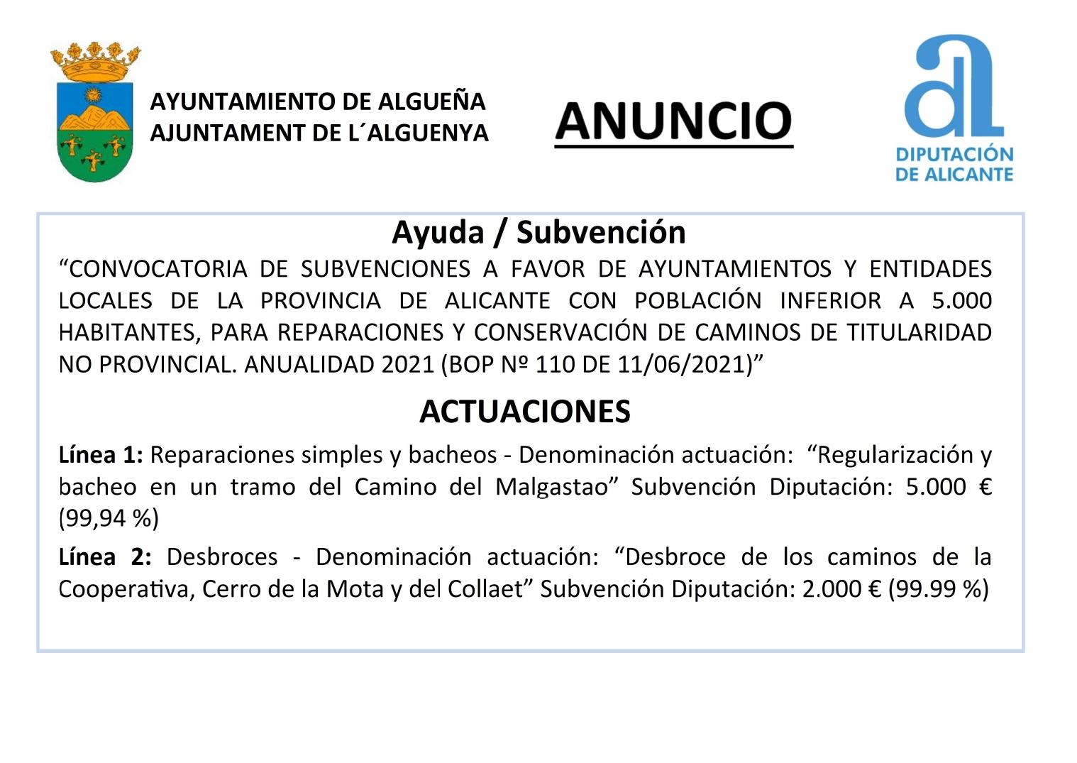 ANUNCIO - Subvención para reparación y conservación de caminos - Anualidad 2021