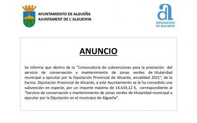 ANUNCIO Subvención en especie para el «Servicio de conservación y mantenimiento de zonas verdes de titularidad municipal»