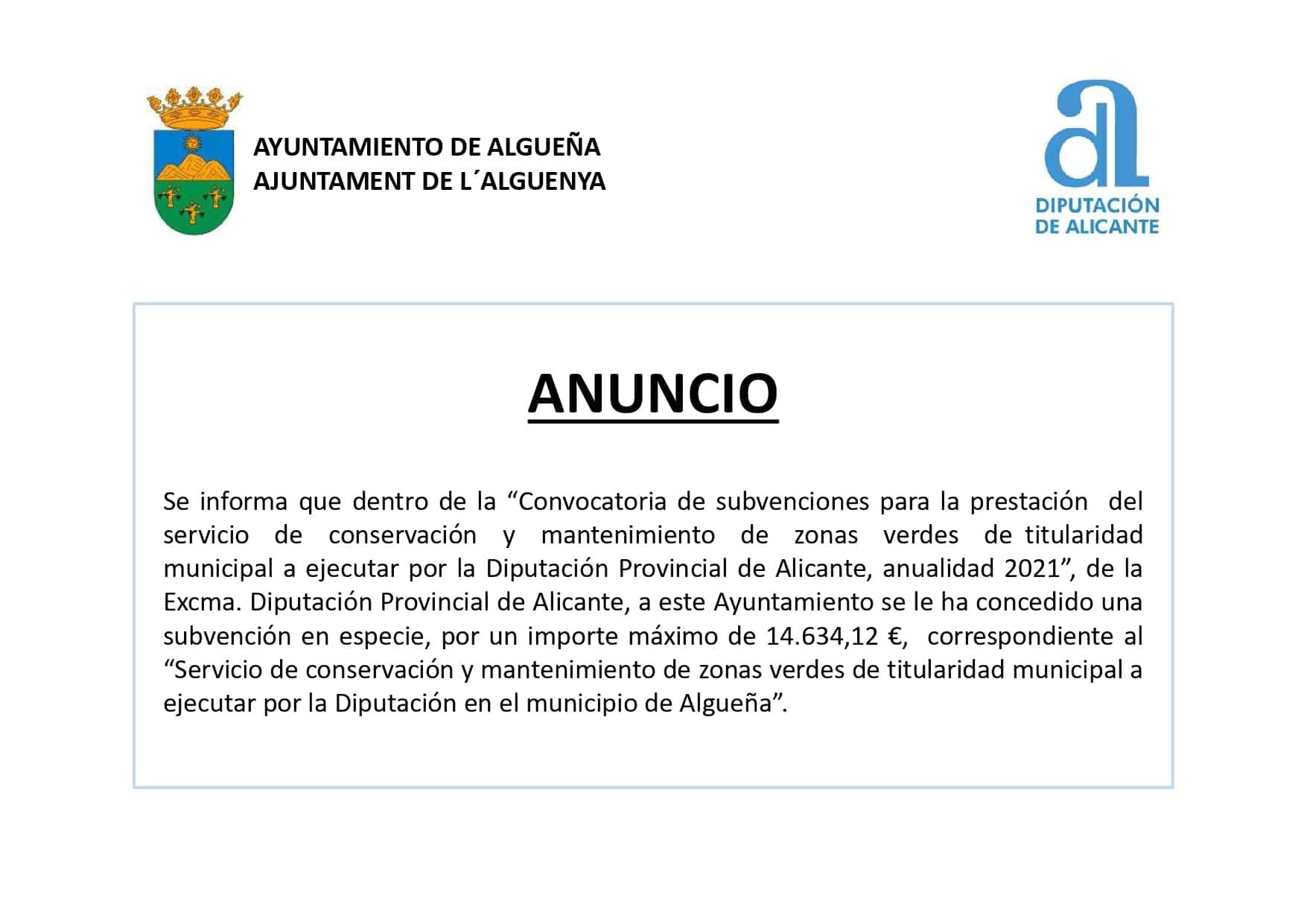 """ANUNCIO Subvención en especie para el """"Servicio de conservación y mantenimiento de zonas verdes de titularidad municipal"""""""
