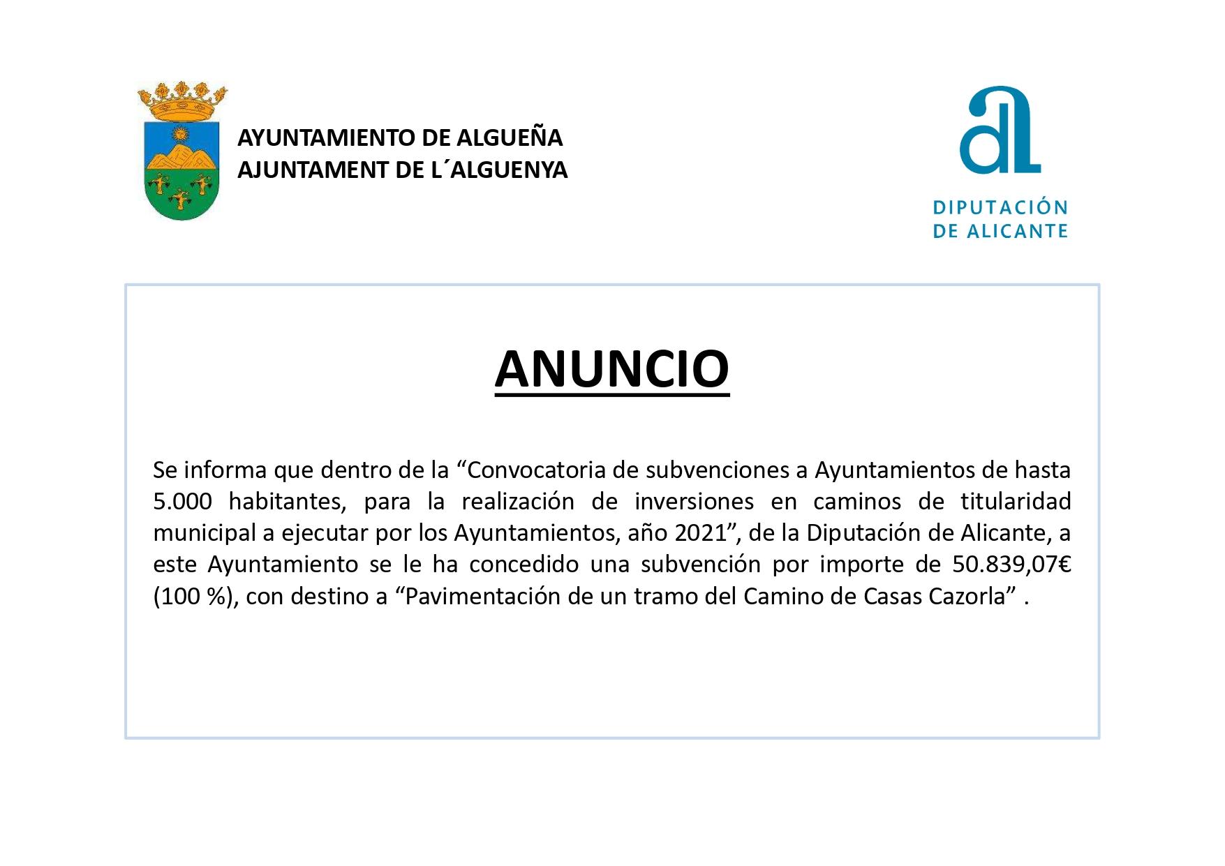 ANUNCIO - Subvención de Pavimentación de un tramo del Camino de Casas Cazorla
