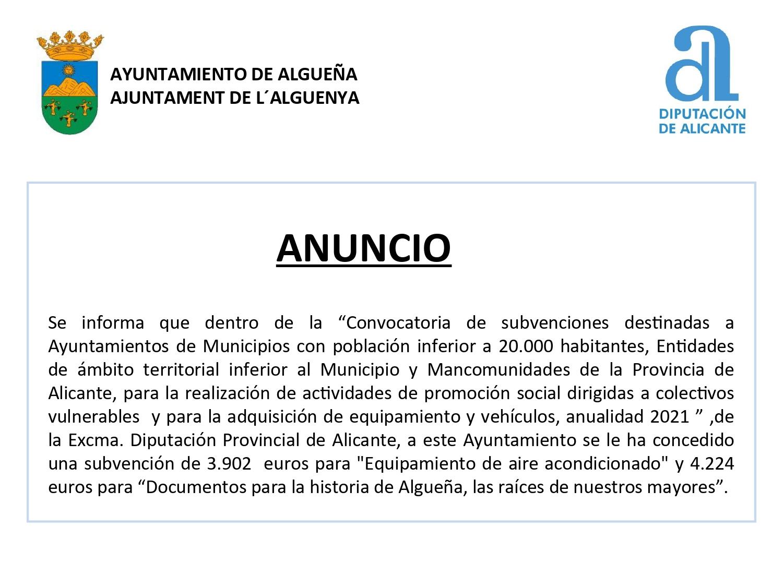 """ANUNCIO - Subvención para """"Equipamiento de aire acondicionado"""" y """"Documentos para la historia de Algueña, las raíces de nuestro mayores"""""""