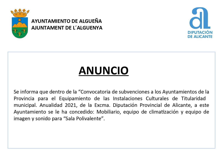 """ANUNCIO - Subvención para """"Mobiliario, equipo de climatización y equipo de imagen y sonido para Sala Polivalente"""""""